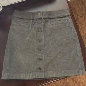 Gray corduroy button front skirt